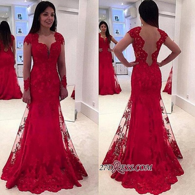 Lace A-line Sweep-Train Modern Long-Sleeve Red Prom Dress UK BA4006_1