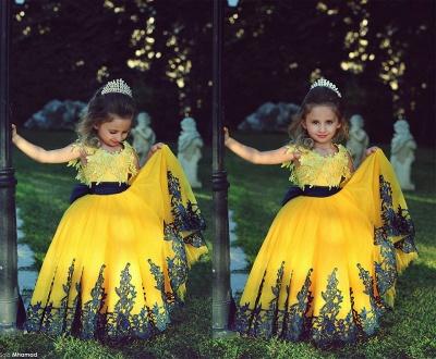 Lovely Yellow Appliques Flower Girl Dresses Floor Length Pageant Dresses_2
