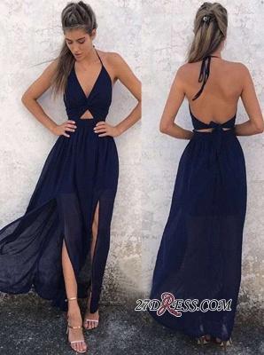 A-Line Newest Halter Side-Slit Dark-Navy Backless Prom Dress UK qq0322_1