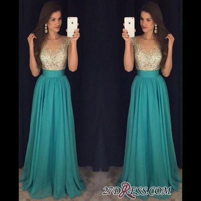Chiffon Scoop Long Floor-Length Crystal Sexy Prom Dress UK_1