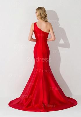 Modern One Shoulder Red Mermaid Evening Dress UK Sweep Train_2