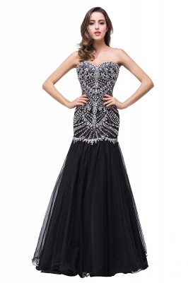 Gorgeous Crystals Black Mermaid Prom Dress UK Sweetheart Sleeveless Zipper_1
