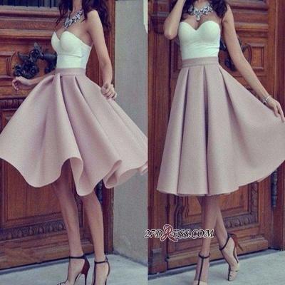 Short Hot Sleeveless Strap Sweetheart Sweetheart A-line Homecoming Dress UK_3