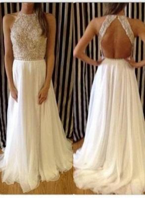 Charming Backless Crew Neck Prom Dress UKes UK Long Chiffon Sleeveless Evening Gowns With Beadings_3