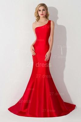 Modern One Shoulder Red Mermaid Evening Dress UK Sweep Train_1