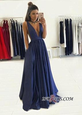 V-Neck Long Floor-Length Luxury Sleeveless Prom Dress UK BA4950_2