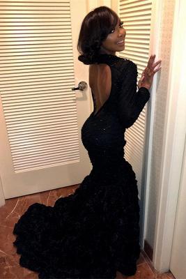 Black Long Sleeve Prom Dress UK   Backless Evening Dress UK With Flowers Bottom_1