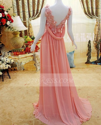 Flower Prom Dress UKes UK Evening Gowns with Pink Pearls Appliques Chiffon Lace Sleeveless Sweep Train A-line_3