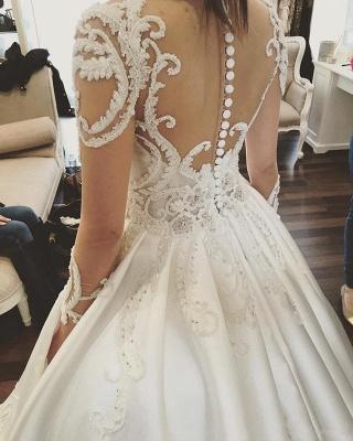 Gorgeous Long Sleeve Lace Buttons Wedding Dress Zipper Button Back_5