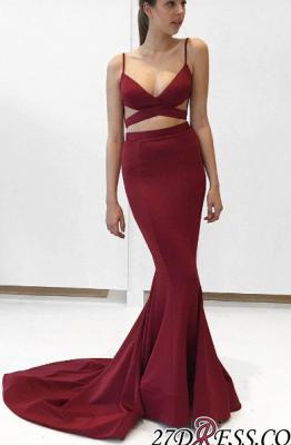 Elegant Mermaid Two-Piece V-Neck Burgundy Prom Dress UK_1