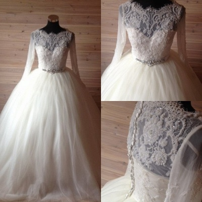 Elegant Tulle Lace Crystals Wedding Dress Ball Gown Long Sleeve_4