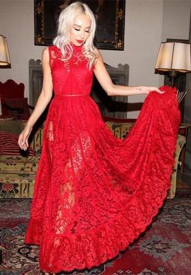 Elegant High Neck Sleeveless Red Evening Dress UK Lace_1