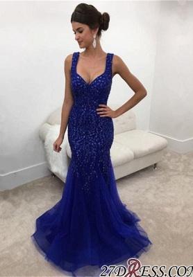 Long Sexy Straps Royal-Blue Mermaid Sleeveless Crystals Prom Dress UK_2