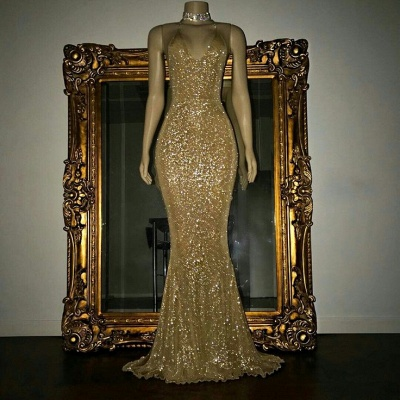 Mermaid Stunning Spaghetti-strap Sequined Sleeveless Long Prom Dress UK SP0311_3