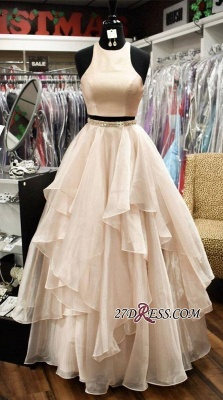 Chic Two-Pieces A-Line Jewel Sleeveless Tiere Prom Dress UKes UK_1
