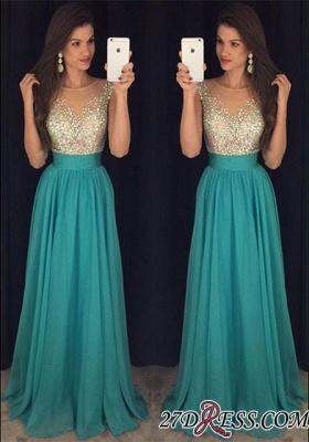 Chiffon Scoop Long Floor-Length Crystal Sexy Prom Dress UK_2