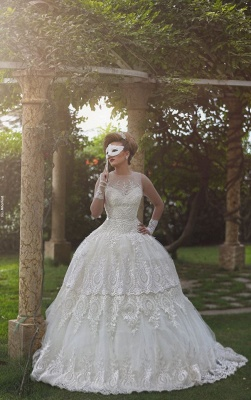 Elegant Tulle Lace Appliques Illusion Wedding Dress Ball Gown Zipper_1
