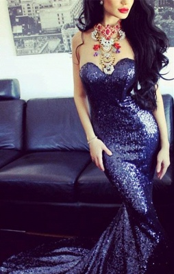 Elegant Sweetheart Sleeveless Mermaid Prom Dress UK With Sequins_1