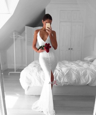 Backless Front-Split Lace White Sleeveless V-neck Mermaid Modest Prom Dress UK_2