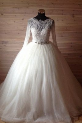 Elegant Tulle Lace Crystals Wedding Dress Ball Gown Long Sleeve_1