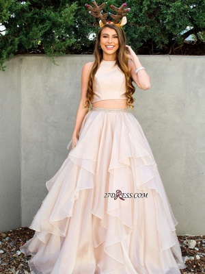 Chic Two-Pieces A-Line Jewel Sleeveless Tiere Prom Dress UKes UK_2