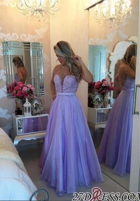 Long Puffy Short-Sleeves Romantic Sheer Lavender Pearls Prom Dress UKes UK BA4789_1