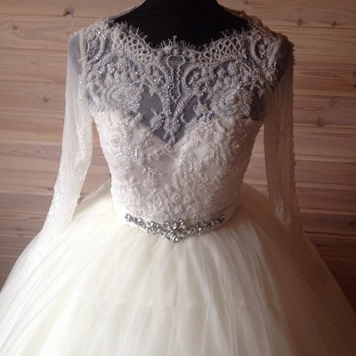 Elegant Tulle Lace Crystals Wedding Dress Ball Gown Long Sleeve_3