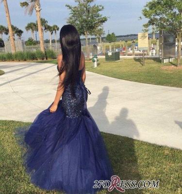 Beading Blue Shiny Sleeveless Strapless Popular Tulle Sequins Navy Prom Dress UK BK0_2