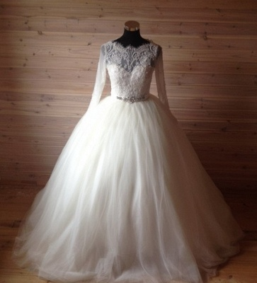 Elegant Tulle Lace Crystals Wedding Dress Ball Gown Long Sleeve_5