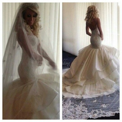 Fairy Open Back Lace Sexy Mermaid Wedding Dress With Ruffles_2