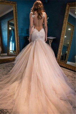 Elegant Sleeveless Lace Appliques Wedding Dress Sexy Mermaid Tulle WE0166_3