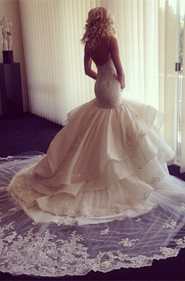 Fairy Open Back Lace Sexy Mermaid Wedding Dress With Ruffles_3