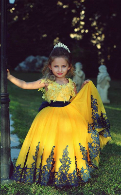 Lovely Yellow Appliques Flower Girl Dresses Floor Length Pageant Dresses_1