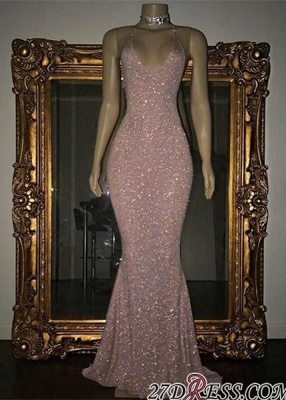 Mermaid Stunning Spaghetti-strap Sequined Sleeveless Long Prom Dress UK SP0311_2