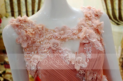Flower Prom Dress UKes UK Evening Gowns with Pink Pearls Appliques Chiffon Lace Sleeveless Sweep Train A-line_2