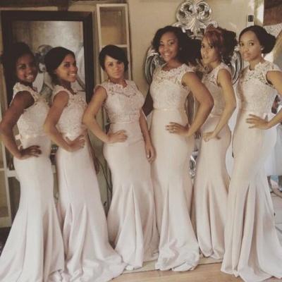 Newest Lace Mermaid Illusion Bridesmaid Dress UK Cap Sleeve_3