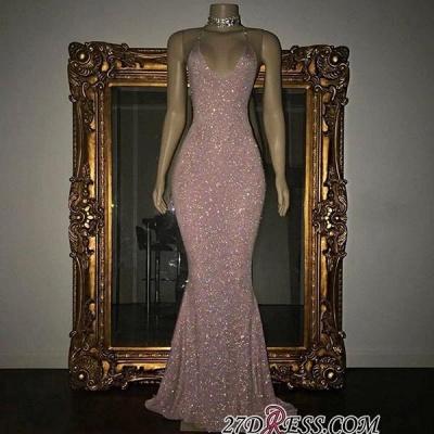 Mermaid Stunning Spaghetti-strap Sequined Sleeveless Long Prom Dress UK SP0311_1