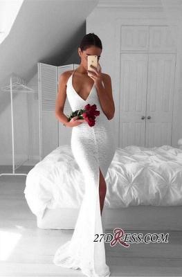 Backless Front-Split Lace White Sleeveless V-neck Mermaid Modest Prom Dress UK_5