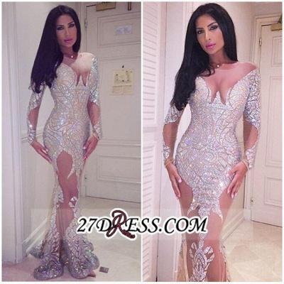 Sheer Sleeve Gorgeous Mermaid Long Crystal Prom Dress UK BA3877_1