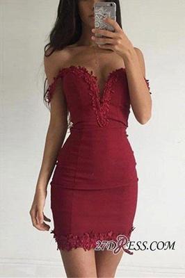 Burgundy Short Elegant Sheath Appliques Off-the-shoulder Homecoming Dress UK BA3581_2