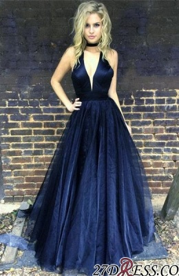 Sleeveless Black Newest A-line Floor-length V-neck Prom Dress UK BA6656_4