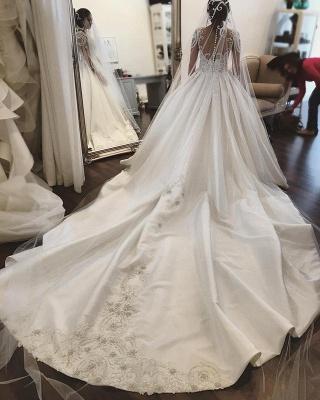 Gorgeous Long Sleeve Lace Buttons Wedding Dress Zipper Button Back_3