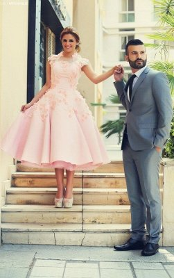 Lovely High Neck Cap Sleeve Prom Dress UK Pink With Flowers_3
