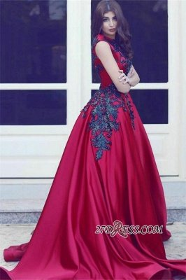Black Long-Train Lace Red Evening Sleevess Sexy Sexy High-Neck Dress UKes UK MH078 BA3924_2