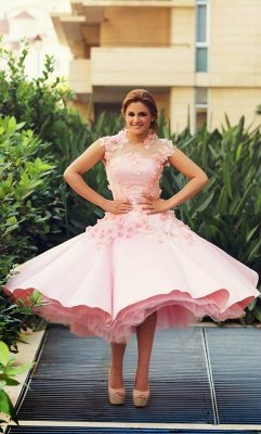 Lovely High Neck Cap Sleeve Prom Dress UK Pink With Flowers_2