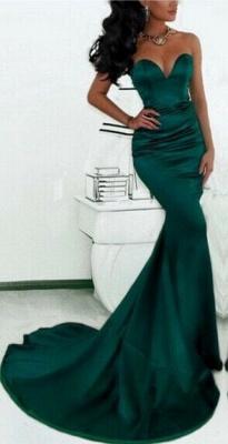 Luxury Sweetheart Mermaid Prom Dress UK Dark Green With Train_2