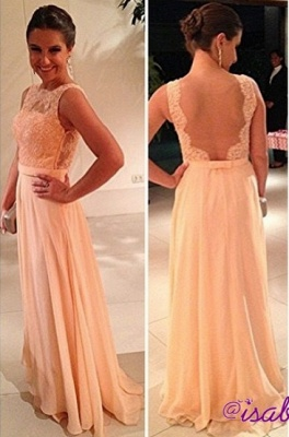 fashion long Vestido De Dama wedding party Dress UKes UK peach nude back chiffon lace prom gowns_1