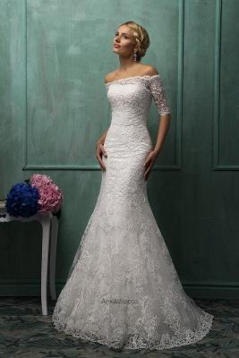Elegant Strapless Sleeveless Lace Sexy Mermaid Wedding Dress Detachable Half-sleeve_4