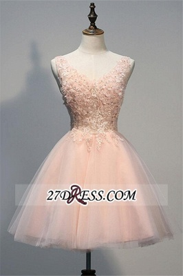 Appliques V-Neck Short Crystal A-line Sleeveless Tulle Homecoming Dress UK_2