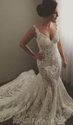 V-neck Sleeveless  Sexy Mermaid Wedding Dresses UK Lace Appliques Bridal Gown WE0196_1